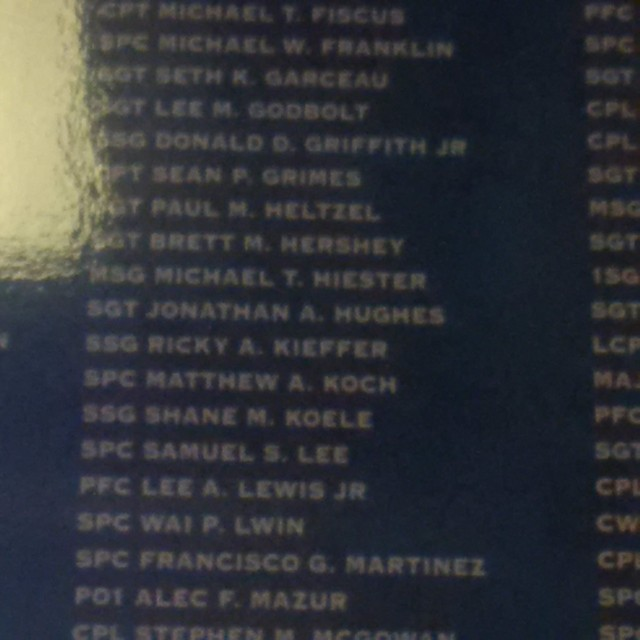 Brett's name on a list of the fallen in the Rayburn House Office Building here in Washington, D.C.  Sorry for the picture quality.